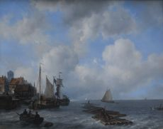 Moored sailingvessels by a quay by Louis Meijer