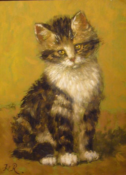Sitting kitten by Henriëtte Ronner-Knip