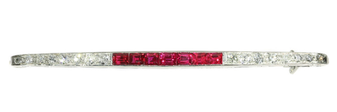 French Art Deco platinum diamond and ruby bar brooch signed Boucheron by Boucheron