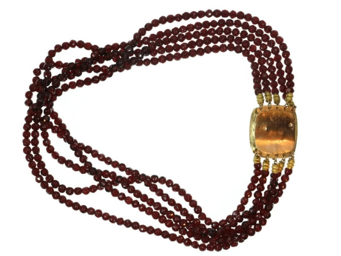 200 years old Dutch antique garnet necklace with gold filigree closure goldsmith maker known by Unknown Artist