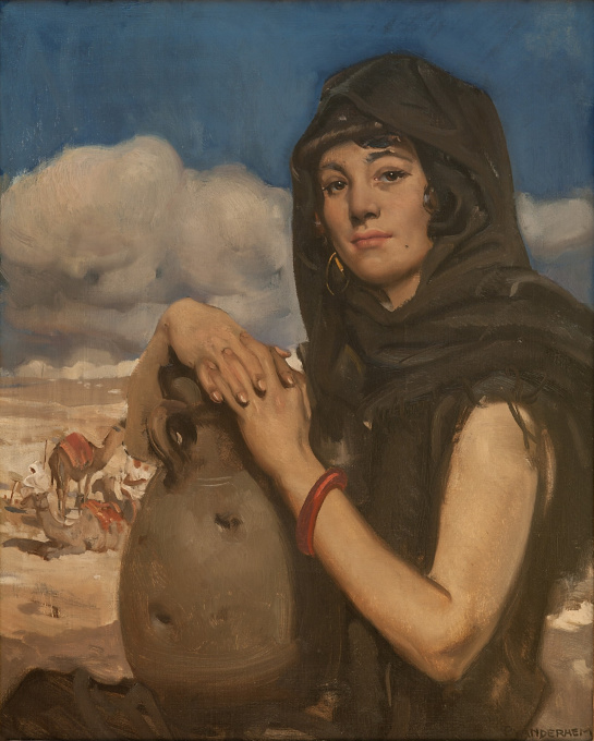 Arab woman with pottery Jar by Piet van der Hem