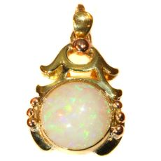 Vintage multi colour gold pendant with cabochon opal Style Japonais by Unknown