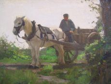 Horse and carriage in landscape by H.J. van der Weele