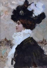 Profile elegant lady with black/white hat by Victor Guerrier