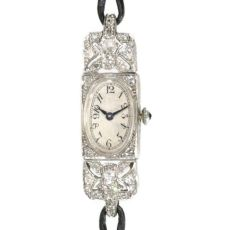 French Art Deco diamond ladies watch by Unknown Artist