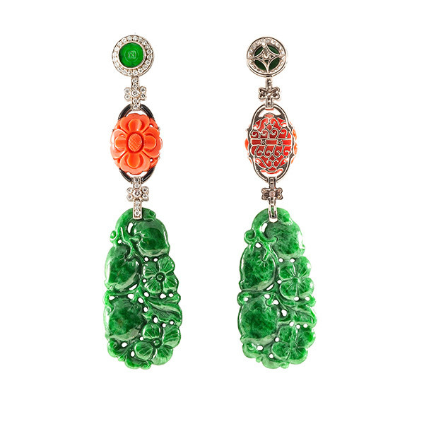 Carved jade and coral earrings by Unknown Artist