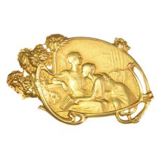Art Nouveau brooch signed Vernon depicting friendship between two women by Unknown