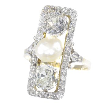 Large impressive Belle Epoque Art Deco diamond and pearl engagement ring by Unknown Artist