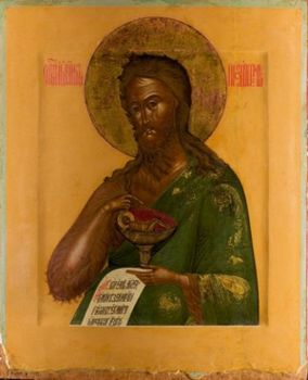 Antique Russian wooden icon: Saint John The Forerunner by Unknown Artist