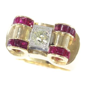 Impressive Retro ring with big old brilliant cut diamond and carre rubies by Unknown Artist
