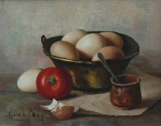 Still life with eggs and tomato.