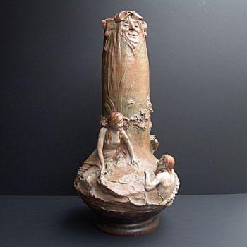 Large vase with man and woman by Johann von Maresch