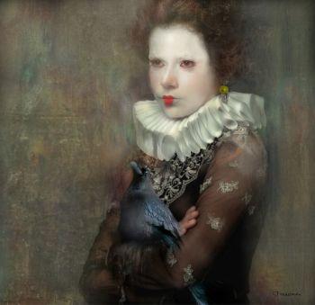 WOMAN WITH CROW by Christine Fokkelman