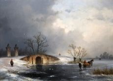 Winter landscape by Johannes Franciscus Hoppenbrouwers