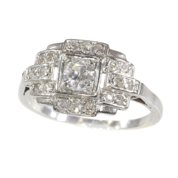 French platinum Art Deco diamond engagement ring by Unknown
