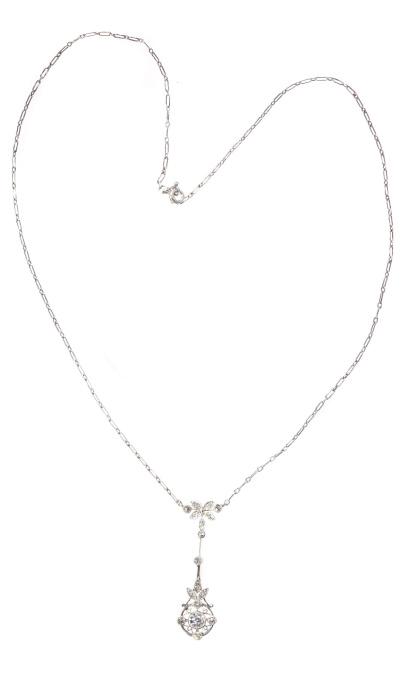 Art Deco Belle Epoque platinum diamond pendant on necklace by Unknown Artist