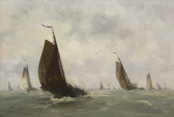 Sailing boats from Urk leaving harbour by Hobbe Smith