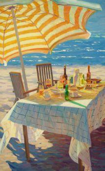 Onder de Parasol - Under the Beach Umbrella - Oil on Linnen - In Stock by Juane Xue