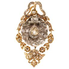 Antique pendant with big shell covered in diamonds can also be worn as brooch by Unknown Artist