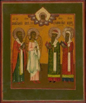 Antique Russian icon: Four chosen saints by Unknown Artist