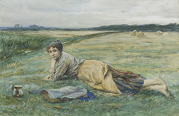 Young farmgirl resting by E.S. Witkamp
