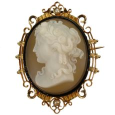 French Victorian antique hard stone cameo in elegant enameled mounting by Unknown Artist