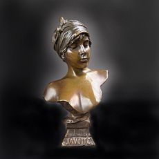 Art nouveau bronze buste entitled 'Javotte' by Emmanuel Villanis