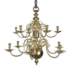 A Dutch bronze 12-light chandelier
