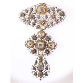 18th Century filigree gold cross pendant table cut diamonds called A la Jeanette by Unknown Artist