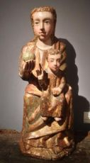 Iconic representation of the Madonna and child based on the Byzantine prototype of the Chora tou Ach by Unknown Artist
