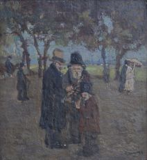 Park with musicians and strolling figures. by Cor Noltee