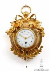 A small French ormolu quarter repeating cartel wall timepiece, Martinot A Paris, circa 1800 by Martinot A Paris