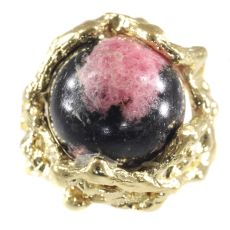 Vintage Sixties gold Art ring with interchangeable precious stones spheres by Unknown