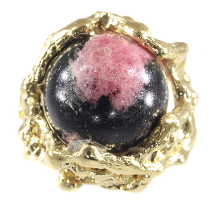 Vintage Sixties gold Art ring with interchangeable precious stones spheres by Unknown Artist