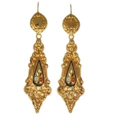 Antique enamel gold dangle earrings, Victorian era by Unknown Artist