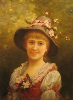 Girl wearing floral hat by Emile Eisman Semenowsky
