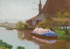 A boat with hyacinths by Anton L. Koster