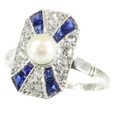 Stylish Art Deco diamond sapphire and pearl ring by Unknown