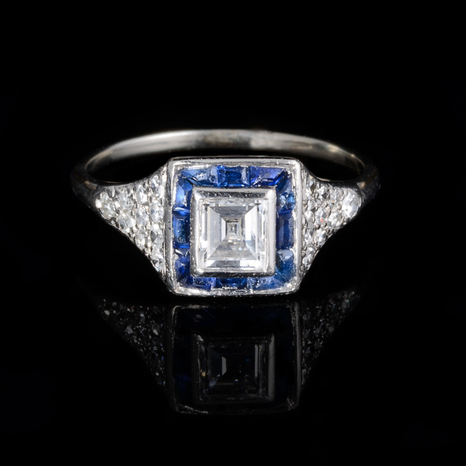 Baguette cut diamond with sapphire surround ring by Unknown Artist