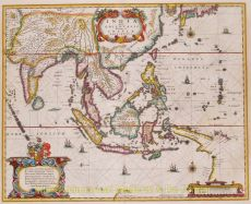 Henricus Hondius' 1636 map of Southeast Asia based on Willem Blaeu's map by Hondius, Henricus