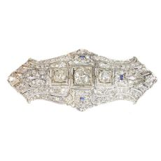 Original Vintage Art Deco diamond platinum brooch by Unknown Artist