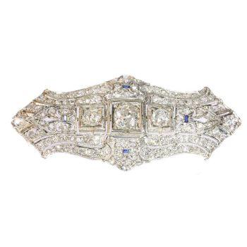 Original Vintage Art Deco diamond platinum brooch by Unknown Artist