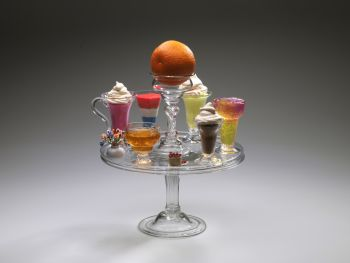 Salver or Tazza with orange glass,  jelly and custard glasses. by Unknown Artist