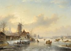 Winterlandscape with ice skating figures by Jan Jacob Spohler