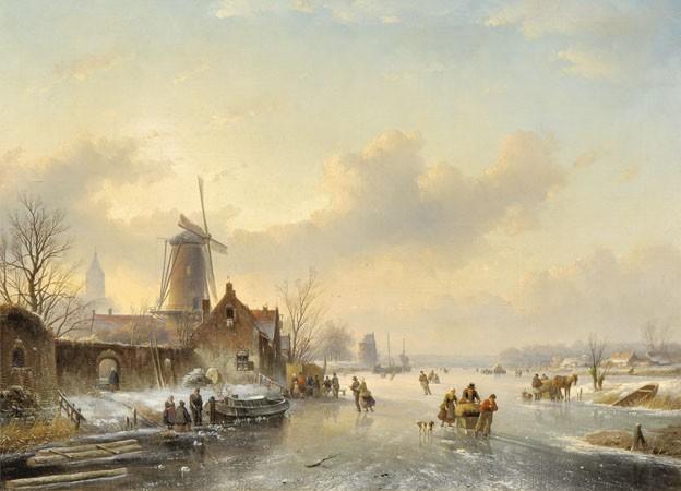 Winterlandscape with ice skating figures by Jan Jacob Spohler