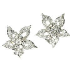 Estate diamond loaded ear clips by Unknown