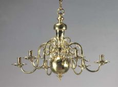 A brass chandelier