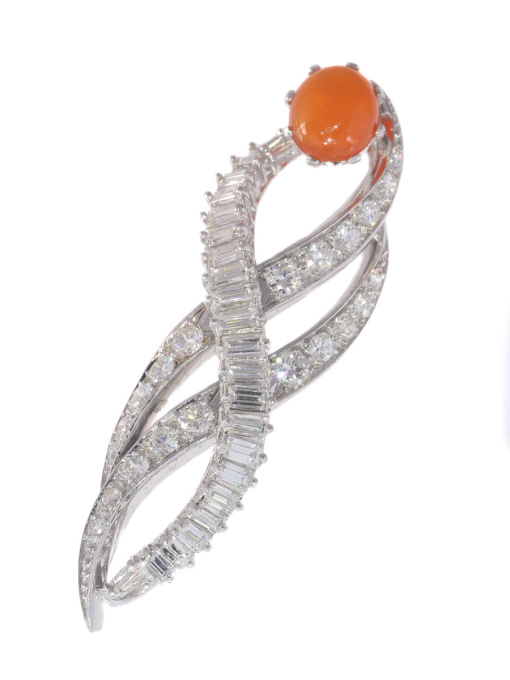 Vintage 1960's burning flame pendant with fire opal and diamonds by Unknown Artist