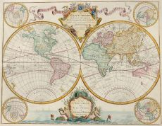 Guillaume De L'Isle's world map by Covens & Mortier