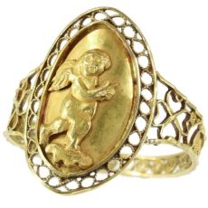 Large Antique French love and luck gold ring with cute little Amor by Unknown Artist